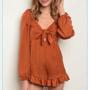 Dresses & Skirts - Rust silky romper